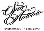 san antonio tattoo script   Shutterstock .eps vector #414881290