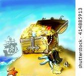 treasure chest of pirates  ship ... | Shutterstock . vector #414885913