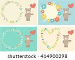 toy teddy bear with heart on... | Shutterstock .eps vector #414900298