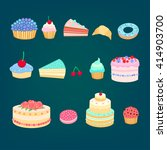 set of colorful tasty pieces of ... | Shutterstock .eps vector #414903700