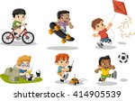 cute happy cartoon boys playing.... | Shutterstock .eps vector #414905539