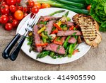grilled steak with stir fried... | Shutterstock . vector #414905590