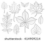 leaves silhouette vector set | Shutterstock .eps vector #414909214
