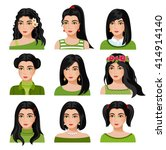 set of woman faces with various ... | Shutterstock .eps vector #414914140