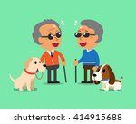 blind senior men and their dogs | Shutterstock .eps vector #414915688