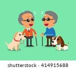 blind senior men and their dogs | Shutterstock .eps vector #414915688