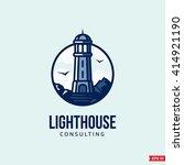 modern vector lighthouse sign... | Shutterstock .eps vector #414921190