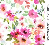 Stock photo watercolor floral pattern seamless pattern with purple and pink bouquet on white background 414921898