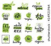vector eco  organic  bio logos... | Shutterstock .eps vector #414921964
