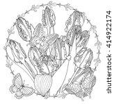zentangle parrot tulips ... | Shutterstock .eps vector #414922174