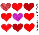 eight red hearts with one purple | Shutterstock .eps vector #414923608