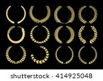gold laurel wreaths | Shutterstock .eps vector #414925048