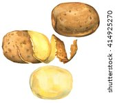 set of potatoes peeled  in peel ... | Shutterstock . vector #414925270