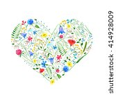 Heart From Wild Flowers On A...