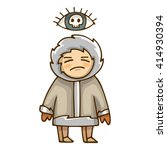 cursed eskimo  stylized cartoon ... | Shutterstock .eps vector #414930394