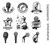 set of karaoke related vintage... | Shutterstock .eps vector #414944593