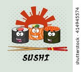 smiling sushi roll set cartoon... | Shutterstock . vector #414945574