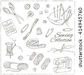 sewing and knitting tools.... | Shutterstock .eps vector #414945760
