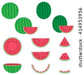 watermelon vector icons set on... | Shutterstock .eps vector #414953956
