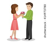 guy gives his girlfriend... | Shutterstock .eps vector #414973780