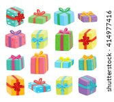 big presents collection. vector ... | Shutterstock .eps vector #414977416