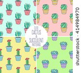 cactus and succulent seamless... | Shutterstock .eps vector #414984970