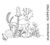 various mushrooms  fungi  ferns ... | Shutterstock .eps vector #414991960