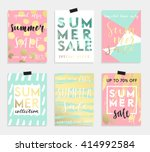 summer hand drawn calligraphyc... | Shutterstock .eps vector #414992584