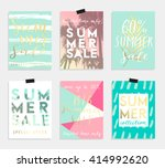 summer hand drawn calligraphyc... | Shutterstock .eps vector #414992620