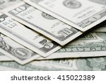 Close up view of pile of dollars background - stock photo
