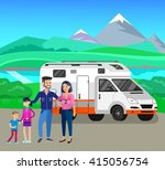character happy family go on... | Shutterstock .eps vector #415056754