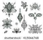 vector hand drawn set of henna... | Shutterstock .eps vector #415066768
