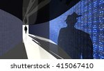 a silhouette of a hacker with a ... | Shutterstock . vector #415067410