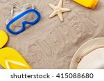 inscription summer on a beach... | Shutterstock . vector #415088680