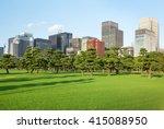 pine trees park in front of... | Shutterstock . vector #415088950