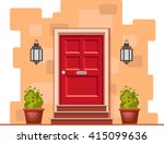 red front door on the yellow... | Shutterstock .eps vector #415099636