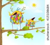 funny bird on tree family... | Shutterstock .eps vector #415108684
