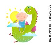 baby and dragon cloud sun... | Shutterstock .eps vector #415108768