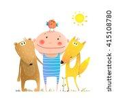 animals friends fox bear bird... | Shutterstock .eps vector #415108780