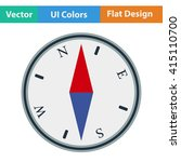 flat design icon of compass in...