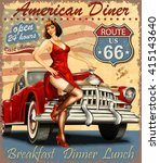 diner route 66 vintage poster | Shutterstock .eps vector #415143640