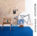 modern interior blue rug and... | Shutterstock . vector #415149538