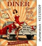 diner vintage poster. | Shutterstock .eps vector #415150309