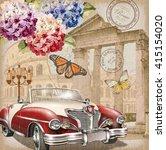 rome vintage poster. | Shutterstock .eps vector #415154020
