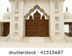 Beautiful wooden gate to a holy temple of Jaigurudeo in India, Rajasthan region - stock photo