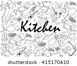 kitchen coloring book line art... | Shutterstock . vector #415170610