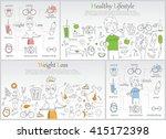 doodle line banners of healthy... | Shutterstock .eps vector #415172398