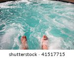 dipping toes into warm bubbling ... | Shutterstock . vector #41517715