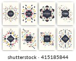 Set of geometric abstract colorful flyers - ethnic style brochure templates - collection of design elements - modern background templates | Shutterstock vector #415185844