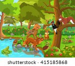 forest animals and friendship | Shutterstock .eps vector #415185868